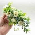 Ekrü-zöld fél fejkoszorú, virágkoszorú, virágkorona fotózáshoz,  esküvőre, Ekrü  zöld fejkoszorú apró selyemvirágokból ...