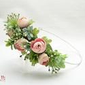 Rózsaszín bogis fél fejkoszorú, virágkoszorú, virágkorona fotózáshoz,  esküvőre, Rózsaszín bogis fejkoszorú selyemvirágokból A...