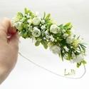 Fehér-zöld fél fejkoszorú, virágkoszorú, virágkorona fotózáshoz,  esküvőre, Esküvő, Hajdísz, ruhadísz, Fehér -  zöld fejkoszorú apró selyemvirágokból A koszorú teljes hossza 47cm A mérete állitható, hátu..., Meska