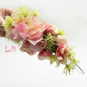 Virágos fél fejkoszorú, virágkoszorú, virágkorona fotózáshoz,  esküvőre, Esküvő, Ruha, divat, cipő, Hajdísz, ruhadísz, Hajbavaló, Rózsaszín virágos fejkoszorú selyemvirágokból A koszorú teljes hossza 48cm A mérete állitható, hátul..., Meska