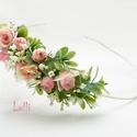 Kis rózsás fél fejkoszorú, virágkoszorú, virágkorona fotózáshoz,  esküvőre, Esküvő, Ruha, divat, cipő, Hajdísz, ruhadísz, Hajbavaló, Kis rózsás fejkoszorú selyemvirágokból A koszorú teljes hossza 45cm A mérete állitható, hátul megköt..., Meska