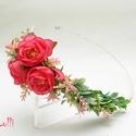 Kis rózsás féloldalas fejkoszorú, virágkoszorú, virágkorona fotózáshoz,  esküvőre, Esküvő, Ruha, divat, cipő, Hajdísz, ruhadísz, Hajbavaló, Korall rózsás féloldalas  fejkoszorú selyemvirágokból. A koszorú teljes hossza 50cm A mérete állitha..., Meska