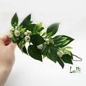Greenery féloldalas fejkoszorú, virágkoszorú, virágkorona fotózáshoz,  esküvőre, Esküvő, Ruha, divat, cipő, Hajdísz, ruhadísz, Hajbavaló, Greenery zöld leveles, apró rózsás féloldalas fejkoszorú selyemvirágokból. A koszorú teljes hossza 4..., Meska