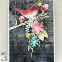 Egyedi indás madaras képeslap, Naptár, képeslap, album, Dekoráció, Képeslap, levélpapír, Ünnepi dekoráció, Lepd meg Szerettedet ezzel a kedves, romantikus képeslappal!  Amit papír kivágatokkal és ékkövekkel ..., Meska