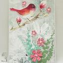 Egyedi virágos madaras képeslap, Naptár, képeslap, album, Dekoráció, Képeslap, levélpapír, Ünnepi dekoráció, Lepd meg Szerettedet ezzel a kedves, romantikus képeslappal!  Amit papír kivágatokkal és ékkövekkel ..., Meska