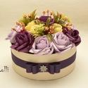 LilacRosebox - virágdoboz, virágbox, rózsabox, Esküvő, Otthon, lakberendezés, Asztaldísz, Anyák napja, Lepd meg szeretteidet ezzel a különeges szín összeállítású virágdobozzal, melybe csodaszép vanília s..., Meska