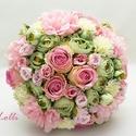 Puncs - Menta - menyasszonyi örökcsokor, Esküvő, Dekoráció, Esküvői csokor, Csokor,  Friss pasztell puncs-menta csokor..  Különleges rózsákból, mentazöld boglárkákkal, és rózsaszín dál..., Meska