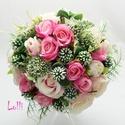 Pink - rózsaszín - menyasszonyi örökcsokor, Esküvő, Dekoráció, Esküvői csokor, Csokor, Pink és rózsaszín selyemrózsákkal, és különleges zöldekkel készült menyasszonyi csokor, a szárát fin..., Meska