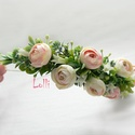 Rózsaszín bogis félfejkoszorú, virágkoszorú, virágkorona fotózáshoz,  esküvőre