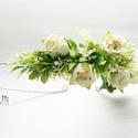 Ekrü nagy rózsás fél fejkoszorú, virágkoszorú, virágkorona fotózáshoz,  esküvőre