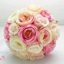 RoundBell pink rózsaszín menyasszonyi selyemcsokor, örökcsokor, Esküvő, Dekoráció, Esküvői csokor, Csokor, Különleges kerek selyemrózsákból kötöttem ezt a minőségi menyassonyi csokrot. A rózsák sz..., Meska