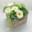 Vintage greenery rózsás virágboc virágdoboz, Esküvő, Otthon, lakberendezés, Esküvői dekoráció, Esküvői csokor, Ezt a csodás vintage fadobozt,  élethű  egyedi ekrü rózsákkal és zöldekkel díszítettem.  Esküvői asz..., Meska