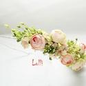 Rózsaszín bogis félfejkoszorú, virágkoszorú, virágkorona fotózáshoz,  esküvőre, Esküvő, Ruha, divat, cipő, Hajdísz, ruhadísz, Hajbavaló, Rózsaszín és ekrü bogis félfejkoszorú selyemvirágokból A koszorú teljes hossza 53cm A virágtömeg szé..., Meska