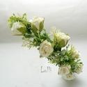 Ekrü nagy rózsás fél fejkoszorú, virágkoszorú, virágkorona fotózáshoz,  esküvőre, Esküvő, Hajdísz, ruhadísz, Ekrü nagy rózsás fél fejkoszorú A koszorú teljes hossza 53cm A virágtömeg szélessége kb.5,5cm! A mér..., Meska