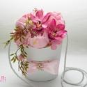 Orchideás - peóniás rózsaszín ballagási tarisznya, Dekoráció, Csokor, Ünnepi dekoráció, Ballagás, Saját tervezésű trendi, csinos ballagási tarisznya rózsaszín peóniákkal, pinkes orchideákkal, csinos..., Meska