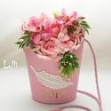 Orchideás ballagási tarisznya évszámmal, Dekoráció, Csokor, Ünnepi dekoráció, Ballagás, Saját tervezésű trendi, csinos ballagási tarisznya rózsaszín rózsákkal, pinkes orchideákkal, a taris..., Meska