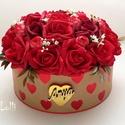 Vörös rózsás virágbox virágdoboz - Nagy, Esküvő, Otthon, lakberendezés, Anyák napja, Asztaldísz, Lepd meg anyukádat ezzel a romantikus virágdobozzal, melybe csodaszép vörös habrózsákat és világos p..., Meska
