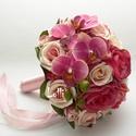 AntikPink - Orchideás-rózsás menyasszonyi örökcsokor, Esküvő, Dekoráció, Csokor, Esküvői csokor, Antik pink, mályva  és barackszínű rózsákból, orchidea virágkkal készült egyedi menyasszonyi csokor...., Meska