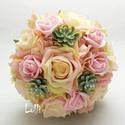 Pasztell rózsás menyasszonyi örökcsokor, Esküvő, Dekoráció, Csokor, Esküvői csokor, Finom pasztell árnyalatokkal készült menyasszonyi jogarcsokor A csokor nyél végén egy csodaszép éksz..., Meska