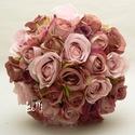 Barna - rózsaszín rózsás menyasszonyi örökcsokor, Esküvő, Dekoráció, Csokor, Esküvői csokor, Barna, mályva és halványrózsaszín selyemrózsákból készült egyedi örökcsokor.  Mérete: 21cm átérőjű 2..., Meska