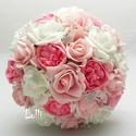 Pink-Rózsaszín gyöngyös  menyasszonyi csokor, Esküvő, Dekoráció, Esküvői csokor, Csokor, Rendelhető!  Egyedi Fehér, rózsaszín harózsából valamint  pink selyemrózsákból kötöttem,  fehér tekl..., Meska