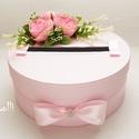 Rózsaszín nászajándékgyűjtő doboz - pénzgyűjtő doboz, Esküvő, Meghívó, ültetőkártya, köszönőajándék, Nászajándék, Esküvői dekoráció, Minőségi pinkes rózsaszín selyemvirágokkal, és egy ékköves gombos szaténmasnival díszített rózsaszín..., Meska