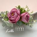 Mályva rózsás menyasszonyi fejdísz kontydísz, Esküvő, Táska, Divat & Szépség, Hajdísz, ruhadísz, Ruha, divat, Mályva selyemrózsákkall díszített fejdísz. Befoglaló mérete a fésűvel együtt: 10x7,5cm  A terméket p..., Meska