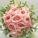 Barack rózsás selyemvirág menyasszonyi örökcsokor kitűzővel, Esküvő, Esküvői csokor, Egyedi barack rózsás menyasszonyi csokor. finom szalagokkal, ékszergombbal díszítve. A csokor magass..., Meska