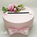 Rózsaszín nászajándékgyűjtő doboz - pénzgyűjtő doboz, Esküvő, Meghívó, ültetőkártya, köszönőajándék, Nászajándék, Esküvői dekoráció, Minőségi pinkes rózsaszín selyemvirágokkal, és egy ékszergombos szaténmasnival díszített rózsaszín k..., Meska
