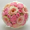 Pink -Rózsaszín menyasszonyi örökcsokor, Esküvő, Esküvői csokor, Menyasszonyi örökcsokor, minőségi pink és rózsaszín selyemrózsákból, valamint ekrü habrózsákból kötv..., Meska