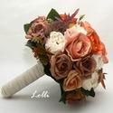 Őszi menyasszonyi örökcsokor, Esküvő, Otthon & lakás, Esküvői csokor, Dekoráció, Őszi menyasszonyi csokor, örökcsokor különleges egyedi cappuccino és vöröses barna rózsákkal, barna ..., Meska