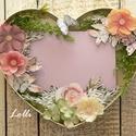 Szív virágkeret, Otthon & lakás, Lakberendezés, Falikép, Képkeret, tükör, Egyedi szív virágkeret Egy 10x15-ös méretű fekvőképet ragaszthatsz ügyesen az üres helyre, és máris ..., Meska