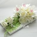 Esküvői asztaldísz, Esküvő, Otthon & lakás, Esküvői dekoráció, Lakberendezés, Asztaldísz, Ekrü romantikus asztaldísz esküvőre, három ekrü habrózsákkal, ekrü orchideával és páfrány levelekkel..., Meska