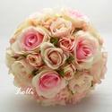 Rózsaszín - ekrü menyasszonyi örökcsokor, Esküvő, Esküvői csokor, Menyasszonyi örökcsokor, minőségi selyemrózsákból kötve. A csokor magassága 25cm, átmérője 20cm. Mos..., Meska