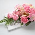 Pink esküvői asztaldísz, Esküvő, Otthon & lakás, Esküvői dekoráció, Lakberendezés, Asztaldísz, Ekrü romantikus asztaldísz esküvőre, vagy ajándékba.  Bézs bazsarózsákkal, pink habrózsákkal, és páf..., Meska
