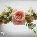 Barack rózsás menyasszonyi fejdísz, kontydísz, negyed fejkoszorú, Esküvő, Táska, Divat & Szépség, Hajdísz, ruhadísz, Ruha, divat, Bordó rózsás negyed fejkoszorú, két végén hurokkal. A virágok befoglaló mérete: 15cmx8cm A dísz telj..., Meska