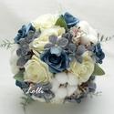 Téli Kék - Fehér menyasszonyi csokor, örökcsokor, Esküvő, Otthon & lakás, Esküvői csokor, Dekoráció, Egyedi téli örökcsokor rendelhető! Gyapotvirággal, csodás selyem és habrózsákkal, egy téli mennyegző..., Meska