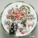 2az1-ben karácsonyi ajándékdoboz és kopogtató, Otthon & lakás, Dekoráció, Ünnepi dekoráció, Karácsonyi, adventi apróságok, Karácsonyi dekoráció, Ajándékzsák, Lakberendezés, Tárolóeszköz, Doboz, Különleges karácsonyi /ekrü/ dobozt készítettem, a tetején karácsonyi otthonnal, fenyőkkel, feliratt..., Meska