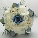 WinterWalzer -Kék- Fehér menyasszonyi csokor, örökcsokor, Esküvő, Otthon & lakás, Esküvői csokor, Dekoráció, Ez a csokor készen van!  Egyedi téli örökcsokor Csodás selyem és habrózsákkal, a fogója fehér csipké..., Meska