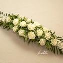 Ekrü habrózsás esküvői főasztaldísz, 75cm hosszú impozáns esküvői főasztaldísz  A...