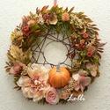 Őszi dáliás koszorú, Minőségi selyemzöldekből készítettem ezt az ...