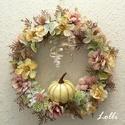 Deres őszi koszorú, Minőségi selyemzöldekkel és rózsával díszí...