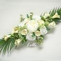 Ekrü kálás esküvői főasztaldísz, 60cm hosszú impozáns esküvői főasztaldísz mi...