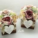 Vintage szülőköszöntő virágdobozok párban, 11x11x11cm méretű szülőköszöntő ládikók, ...