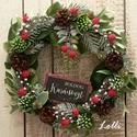 Örökzöld karácsonyi koszorú, Minőségi selyemzöldekből készítettem ezt a k...