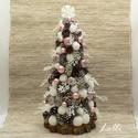 Rózsaszín-fehér mini karácsonyfa, Apró tobozokkal, fehér hógolyókkal, rózsaszí...