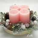 Rózsaszín gyertyás adventi tál, Rózsaszín gyertyákkal készült adventi tál Na...
