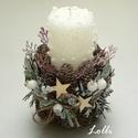 Karácsonyi gyertyás dísz, Egy havas-buborékos érdekes gyertya köré tette...