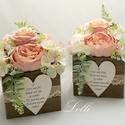 Vintage rózsás szülőköszöntő selyemvirágdobozok párban