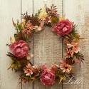 Őszi virágos selyemvirág koszorú
